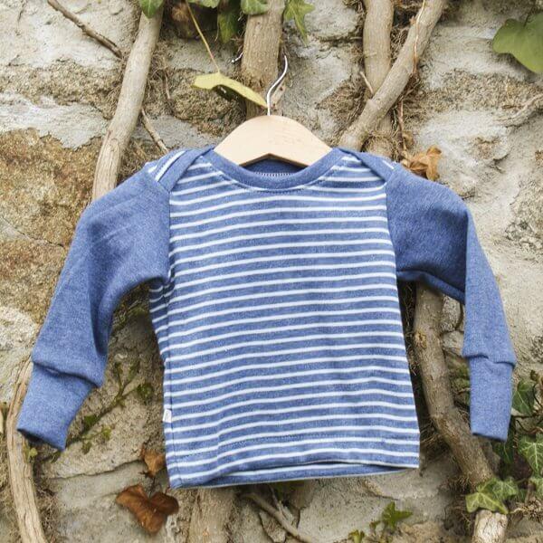"""Bio Babyshirt, Jacquard """"Ringel"""" blau"""