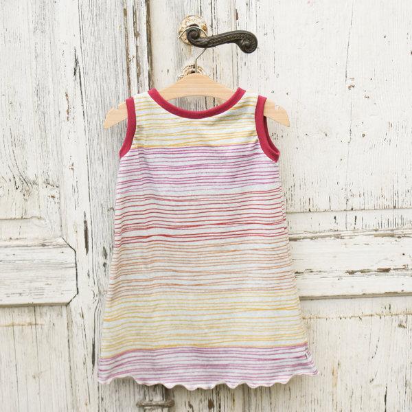 Bio ärmelloses Kleid, BioJersey Streifen pink/rot/orange/gelb