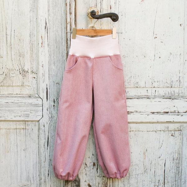 Bio lange Hose, BioDenim pink/natur