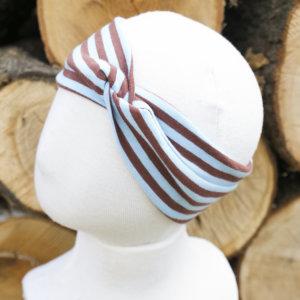 Bio Stirnband, BioJersey Ringel hellblau/braun