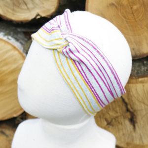 Bio Stirnband, BioJersey Streifen pink/rot/orange/gelb