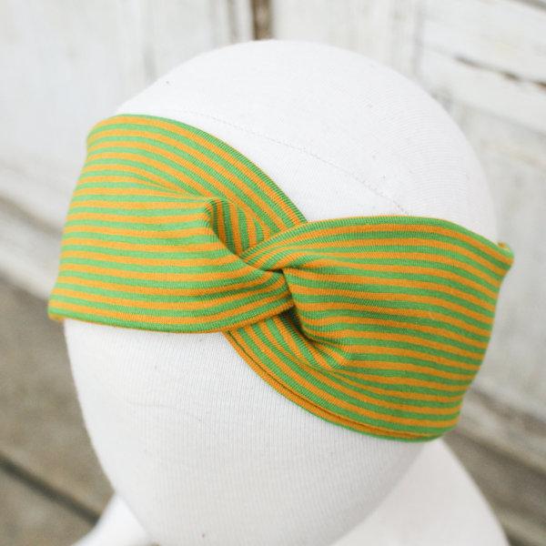 Bio Stirnband, BioJersey Ringel senf/grün