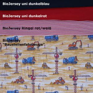"""BioBaumwollStoffe der Kollektion 5 """"Baustellenfahrzeuge"""""""