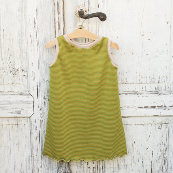 Bio ärmelloses Kleid, BioJersey Ringel senf/grün