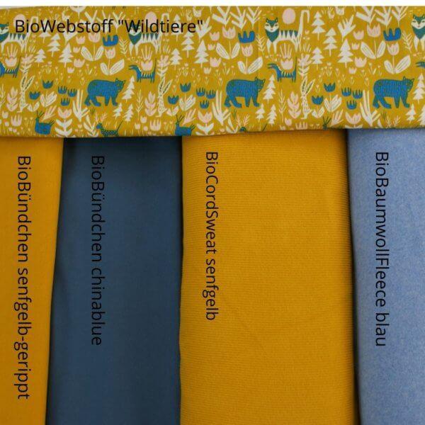 Übersicht Herbst/Winterkollektion selfgelb/blau