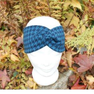 "Bio Stirnband, BioJacquardsweat ""Hahnentritt"" blau"