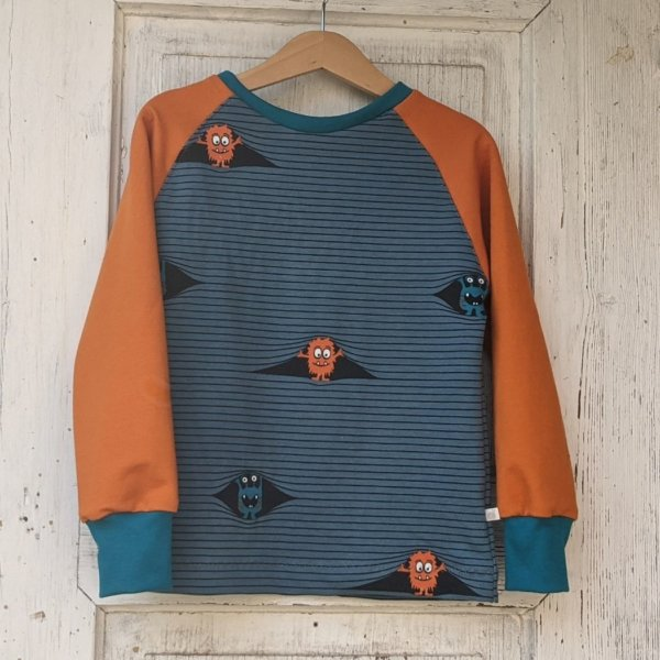 """Bio Sweatshirt, BioSweat """"Monster"""" blau"""